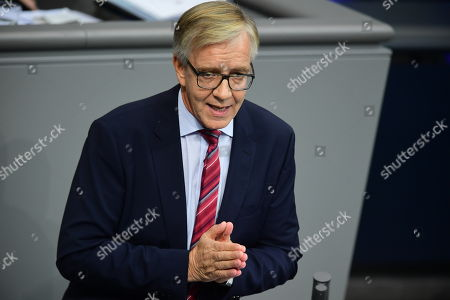The Left party (Die Linke) faction co-chairman in the German parliament Bundestag Dietmar Bartsch speaks at the German Bundestag in Berlin, Germany, 17 October 2019. German Chancellor Merkel delivered a government declaration to the members of the German parliament Bundestag prior to an EU summit in Brussels on 17 October 2019.