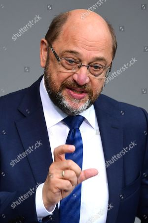Former Social Democratic Party (SPD) chairman Martin Schulz speaks at the German Bundestag in Berlin, Germany, 17 October 2019. Merkel delivered a government declaration to the members of the German parliament Bundestag prior to an EU summit in Brussels on 17 October 2019.