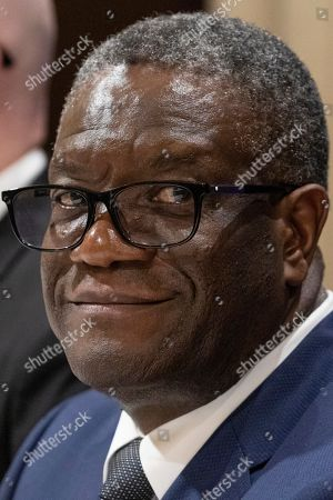 Dr. Denis Mukwege, Congolese gynecologist who won the 2018 Nobel Peace Prize attends a news conference
