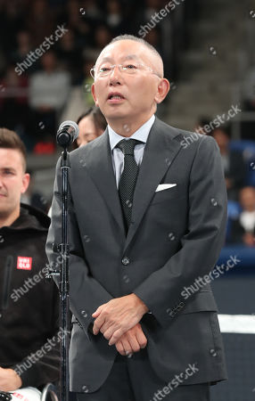 Stock Picture of Japan's apparel giant Uniqlo president Tadashi Yanai delivers a speech as Uniqlo holds a charity tennis event