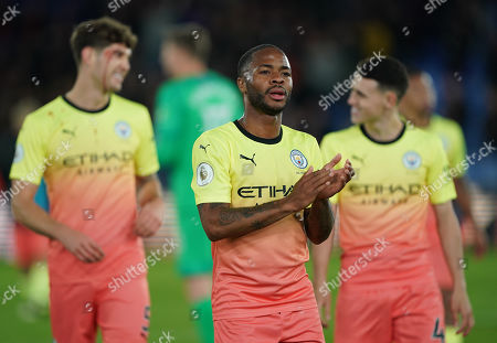 Stock Image of Raheem Sterling of Manchester City applause the away fans at the end of the match