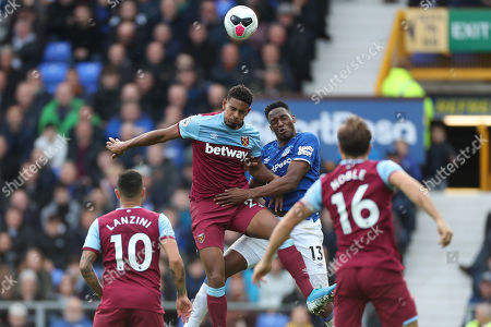 Sebastien Haller of West Ham United and Yerry Mina of Everton