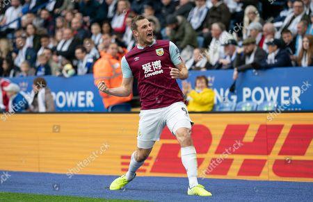 Chris Wood of Burnley celebrates his goal, 0-1