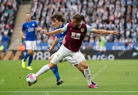 Caglar Soyuncu of Leicester City and Jay Rodriguez of Burnley