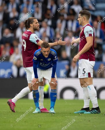 Stock Picture of Jay Rodriguez of Burnley shakes hands with James Tarkowski of Burnley as l9\ looks dejected