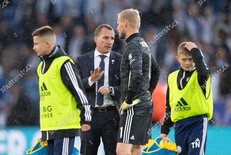 Stock Image of Brendan Rodgers manager of Leicester City talks with Kasper Schmeichel goalkeeper  of Leicester City at full-time