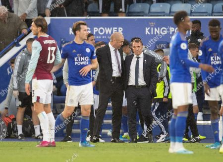 Burnley manager Sean Dyche talks with Brendan Rodgers manager of Leicester City at full-time