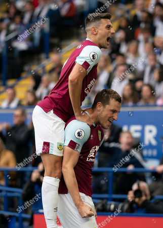 Chris Wood of Burnley celebrates his goal with team-mates, 0-1