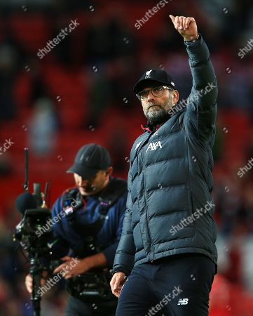 Stock Image of Liverpool manager Jurgen Klopp thanks the fans at the end of the game