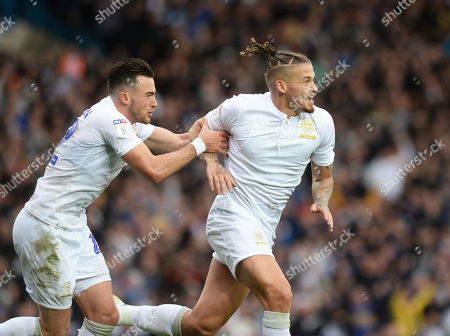 Kalvin Phillips of Leeds United celebrates scoring their first goal with Jack Harrison of Leeds United