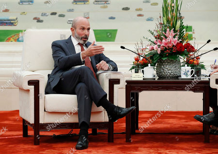 Chairman of the US-China Business Council Evan Greenberg speaks during a meeting with Chinese Premier Li Keqiang at the Great Hall of the People in Beijing, China, 17 October 2019.