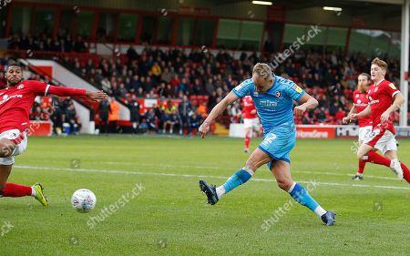 Cheltenham Town's Luke Varney scores the second goal