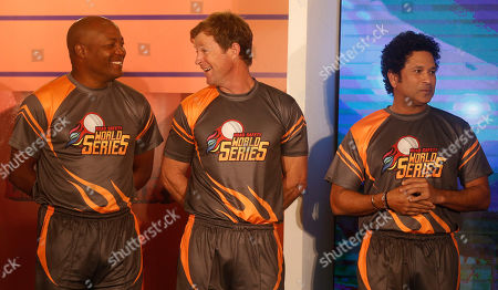 Brian Lara, Jonty Rhodes, Sachin Tendulkar. Former cricketers West Indies' Brian Lara, left, South Africa's Jonty Rhodes, center, and India's Sachin Tendulkar attend an event to announce the Road Safety World Series in Mumbai, India, . The World Series will be an annual Twenty20 tournament played by retired cricketers from Australia, South Africa, Sri Lanka, West Indies and India