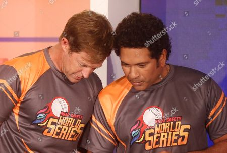Jonty Rhodes, Sachin Tendulkar. Former cricketers South Africa's Jonty Rhodes, left, and India's Sachin Tendulkar attend an event to announce the Road Safety World Series in Mumbai, India, . The World Series will be an annual Twenty20 tournament played by retired cricketers from Australia, South Africa, Sri Lanka, West Indies and India