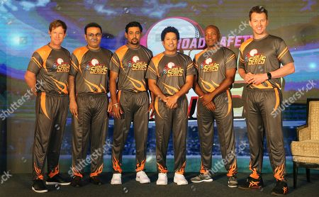 Stock Image of Brian Lara, Jonty Rhodes, Sachin Tendulkar, Tillakaratne Dilshan, Virender Sehwag. Former cricketers, from Left, South Africa's Jonty Rhodes, India's Virender Sehwag, Sri Lanka's Tillakaratne Dilshan, India's Sachin Tendulkar, West Indies' Brian Lara and Australia's Brett Lee stand for photographs during an event to announce the Road Safety World Series in Mumbai, India, . The World Series will be an annual Twenty20 tournament played by retired cricketers from Australia, South Africa, Sri Lanka, West Indies and India