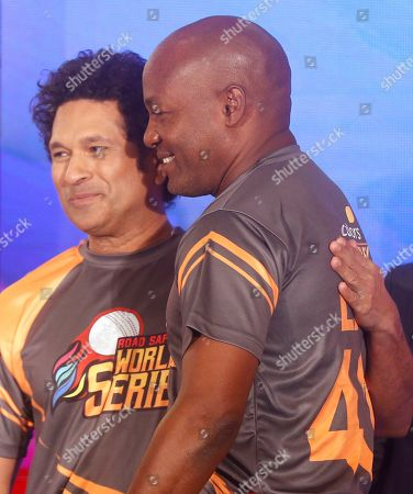 Brian Lara, Sachin Tendulkar. Former cricketers West Indies' Brian Lara, right, is greeted by India's Sachin Tendulkar during an event to announce the Road Safety World Series in Mumbai, India, . The World Series will be an annual Twenty20 tournament played by retired cricketers from Australia, South Africa, Sri Lanka, West Indies and India