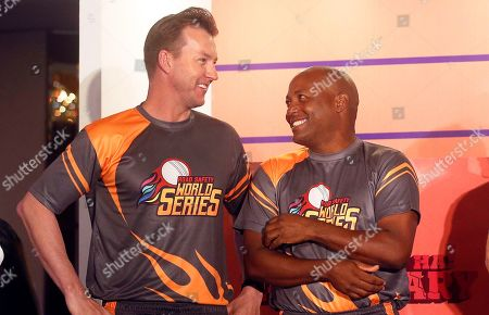 Brian Lara, Brett Lee. Former cricketers West Indies' Brian Lara, right, and Australia's Brett Lee attend an event to announce the Road Safety World Series in Mumbai, India, . The World Series will be an annual Twenty20 tournament played by retired cricketers from Australia, South Africa, Sri Lanka, West Indies and India