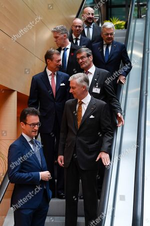 Stock Image of King Philippe, Grand Duke Henri of Luxembourg, Oliver Paasch, Etienne Schneider at Belgium-Luxembourg Business Success Stories