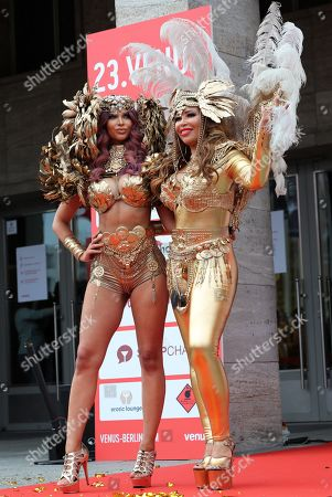 German actress Micaela Schaefer (L) and TV moderator Patricia Blanco take part in the opening of the Venus Erotic Trade Fair in Berlin, Germany, 17 October 2019. Venus Berlin is among the largest international erotic trade fairs, with more than 250 exhibitions from 40 countries and 30,000 visitors.