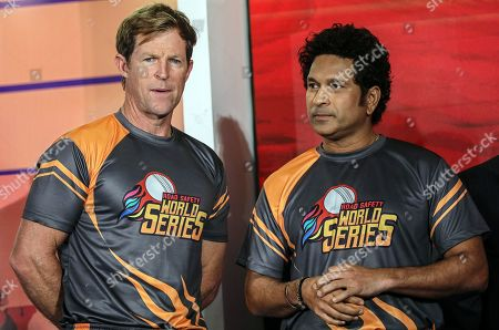 Stock Image of Former South African cricketer Jonty Rhodes (L) and former Indian cricketer Sachin Tendulkar (R) attend the pesentation of the Road Safety World Series T20 cricket tournament in Mumbai, India, 17 October 2019. The tournament is scheduled to be held in India from 02 February until 16 February 2020.