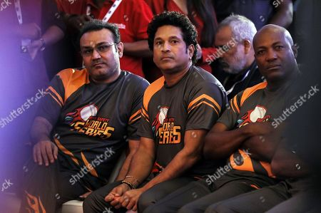 Former Indian cricketers Virender Sehwag (L) and Sachin Tendulkar (C) and former West Indies cricketer Brian Lara (R) attend the pesentation of the Road Safety World Series T20 cricket tournament in Mumbai, India, 17 October 2019. The tournament is scheduled to be held in India from 02 February until 16 February 2020.