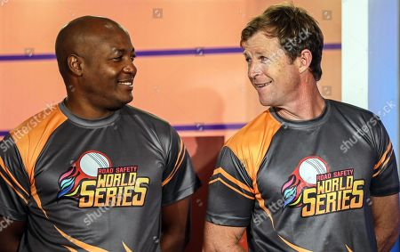 Former West Indies cricketer Brian Lara (L) and former South African cricketer Jonty Rhodes (R) attend the pesentation of the Road Safety World Series T20 cricket tournament in Mumbai, India, 17 October 2019. The tournament is scheduled to be held in India from 02 February until 16 February 2020.
