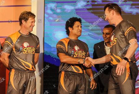 Former cricketers (L-R) South African Jonty Rhodes, Indian Sachin Tendulkar, and Australian Brett Lee attend the pesentation of the Road Safety World Series T20 cricket tournament in Mumbai, India, 17 October 2019. The tournament is scheduled to be held in India from 02 February until 16 February 2020.
