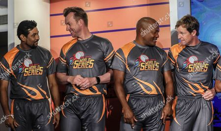 Stock Picture of Former cricketers (L-R) Sri Lankan Tillakaratne Dilshan, Australian Brett Lee, West Indies' Brian Lara, and South African Jonty Rhodes attend the pesentation of the Road Safety World Series T20 cricket tournament in Mumbai, India, 17 October 2019. The tournament is scheduled to be held in India from 02 February until 16 February 2020.