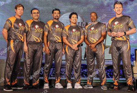 Former cricketers (L-R) South African Jonty Rhodes, Indian Virender Sehwag, Sri Lankan Tillakaratne Dilshan, Indian Sachin Tendulkar, West Indies' Brian Lara, and Australian Brett Lee (R) pose for photographers during the pesentation of the Road Safety World Series T20 cricket tournament in Mumbai, India, 17 October 2019. The tournament is scheduled to be held in India from 02 February until 16 February 2020.