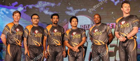 Former cricketers (L-R) South African Jonty Rhodes, Indian Virender Sehwag, Sri Lankan Tillakaratne Dilshan, Indian Sachin Tendulkar, West Indies' Brian Lara, and Australian Brett Lee pose for photographers during the pesentation of the Road Safety World Series T20 cricket tournament in Mumbai, India, 17 October 2019. The tournament is scheduled to be held in India from 02 February until 16 February 2020.