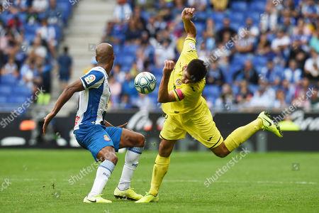 Edinaldo Gomes Naldo of RCD Espanyol  and Gerard Moreno of Villarreal CF