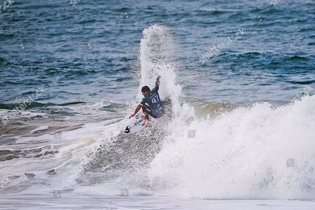 Stock Picture of Brazil's Willian Cardoso in action during the first heat of the MEO Rip Curl Pro Portugal surfing event as part of the World Surf League (WSL) Championship Tour in Praia dos Supertubos in Peniche, Portugal, 17 October 2019.