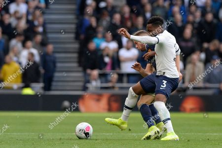 Danny Rose of Tottenham Hotspur and Tom Cleverley of Watford in action during the Premier League match between Tottenham Hotspur and Watford at The Tottenham Hotspur Stadium in London, UK - 19th October 2019