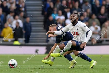 Stock Image of Danny Rose of Tottenham Hotspur and Tom Cleverley of Watford in action during the Premier League match between Tottenham Hotspur and Watford at The Tottenham Hotspur Stadium in London, UK - 19th October 2019