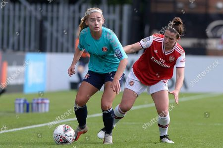 Stock Image of Emma Mitchell  of Arsenal Women and Rachel Newborough of Charlton Athletic Women in action during the FA WSL Continental Tyres Cup match between Arsenal Women and Charlton Athletic Women at the Meadow Park in Borehamwood, UK - 20th October 2019