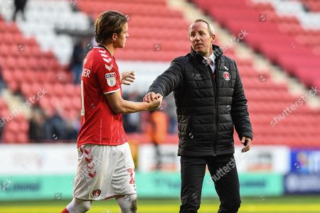 19th October 2019, The Valley, London, England; Sky Bet Championship, Charlton Athletic v Derby County :Lee Bowyer manager of Charlton congratulates goal scorer Conor Gallagher (11) of Charlton