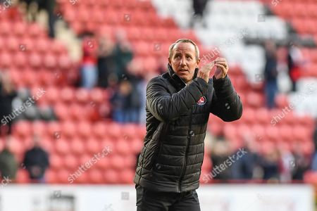 19th October 2019, The Valley, London, England; Sky Bet Championship, Charlton Athletic v Derby County :Lee Bowyer manager of Charlton thanks the fans