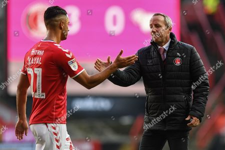 19th October 2019, The Valley, London, England; Sky Bet Championship, Charlton Athletic v Derby County :Lee Bowyer manager of Charlton thanks Beram Kayal (21) of Charlton