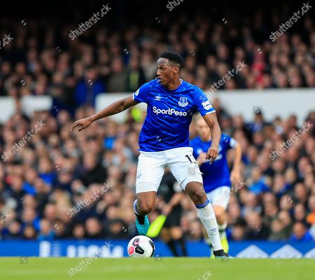 Stock Picture of 19th October 2019, Goodison Park, Liverpool, England; Premier League, Everton v West Ham United : Yerry Mina (13) of Everton runs with the ball