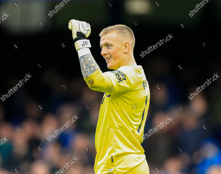 Stock Photo of 19th October 2019, Goodison Park, Liverpool, England; Premier League, Everton v West Ham United : Jordan Pickford (01) of Everton celebrates his teams second goal in the 91st minute, 2-0 to Everton Credit: Conor Molloy/News Images