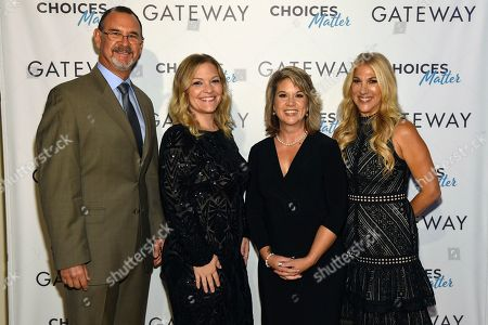"""Dr. Richard Chudacoff, Jen Wysong, Jennifer Weiss-Burke, Dana Richie. Dr. Richard Chudacoff, Jen Wysong, Jennifer Weiss-Burke and Dana Richie at the premiere of the new documentary """"Gateway,"""" a film about three families inadvertently impacted by opioid addiction following surgery, in New York at The Helen Mills Theatre"""