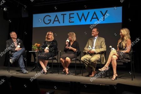 """Stock Image of Ryan Hampton, Jen Wysong, Jennifer Weiss-Burke, Dr. Richard Chudacoff, Dana Richie. Ryan Hampton, Jen Wysong, Jennifer Weiss-Burke, Dr. Richard Chudacoff and Dana Richie discuss the launch of a new documentary called """"Gateway,"""" a film about three families inadvertently impacted by opioid addiction following surgery, in New York"""