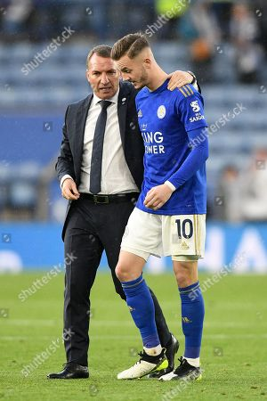 Stock Photo of 19th October 2019, King Power Stadium, Leicester, England; Premier League, Leicester City v Burnley : Brendan Rodgers, Manager of Leicester City chats with James Maddison (10) of Leicester City after winning 2-1 Credit: Jon Hobley/News Images