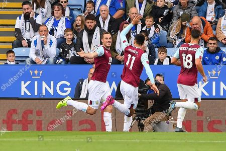 19th October 2019, King Power Stadium, Leicester, England; Premier League, Leicester City v Burnley : Chris Wood (9) of Burnley celebrates after scoring a goal to make it 0-1  Credit: Jon Hobley/News Images