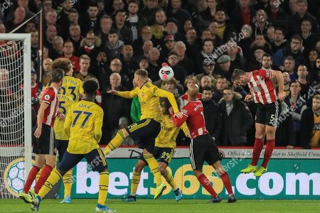 21st October 2019, Bramall Lane, Sheffield, England; Premier League, Sheffield United v Arsenal : Jack O'Connell (5) of Sheffield United heads the ball on to Lys Mousset (22) of Sheffield United who goes on to score  Credit: Mark Cosgrove/News Images