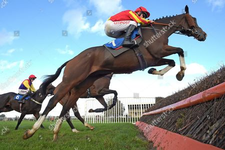 Sporting Boy ridden by Leighton Aspell clear the last in The Trethowans Solicitors Handicap Steeplechase during Horse Racing at Wincanton Racecourse on 17th October 2019