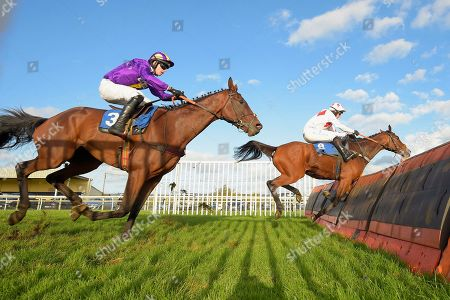 Winner of The Starsports.bet Handicap Hurdle Demon Fou far side ridden by Matt Griffiths and trained by Jeremy Scott during Horse Racing at Wincanton Racecourse on 17th October 2019