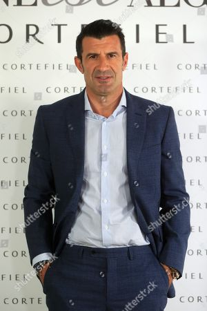 Former soccer player Luis Figo poses during the presentation of Cortefiel's new campaign in Madrid, Spain, 17 October 2019. Figo and his wife, Swedish model Helen Svedin, are the new image of Cortefiel's Autum-Winter collection.