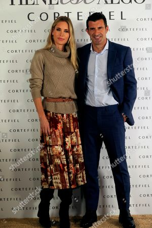 Former soccer player Luis Figo (R) and his wife, Swedish model Helen Svedin (L), pose during the presentation of Cortefiel's new campaign in Madrid, Spain, 17 October 2019. Figo and his wife are the new image of Cortefiel's Autum-Winter collection.