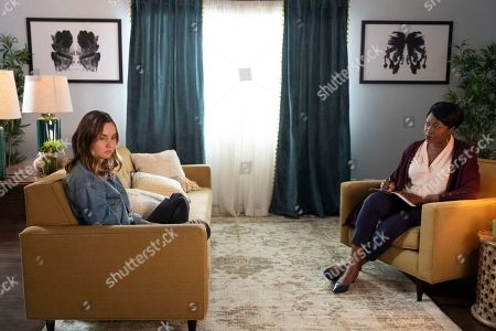 Liana Liberato as McKenna Brady/Jennie Brady and Christine Horn as Dr. Emelda Schwartz